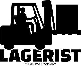 título, alemão, forklift, trabalho, worker., armazém
