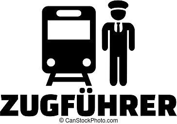 título, alemão, motorista, trem trabalho, ícone