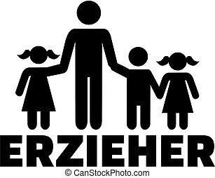 título, alemão, trabalhador, trabalho, childcare, ícone