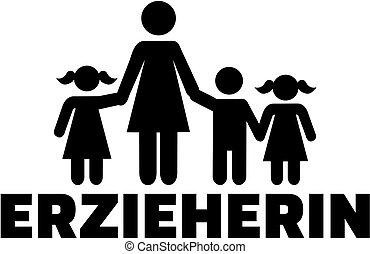 título, alemão, trabalhador, trabalho, childcare, femininas, ícone