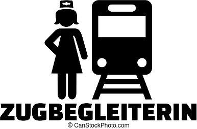 título, alemão, trem trabalho, assistente, ícone