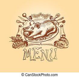 título, menú, mano, vector, diseño, dibujado