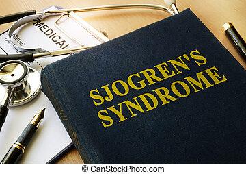 título, síndrome, mesa., sjogren's, libro