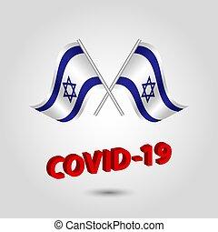 título, texto, polaco, covid-19, vermelho, bandeiras, israel, jogo, waving, -, dois, 3d, ícone, prata, israelita, vetorial, coronavirus, cruzado