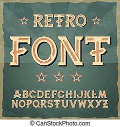 títulos, fonte, retro, tipografia, alfabeto, etc., etiquetas, vetorial, vindima, cartazes, eps10., tipo