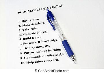 tíz, qualities, vezető