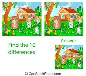 tíz, tehén, tanya, disznó, különbségek, belföldi, ábra, kakas, gyermekek, látási, talál, puzzle:, animals:, goat