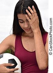 tízenéves kor, atléta, női, futball játékos, és, depresszió