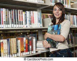 tízenéves kor, -ban, a, könyvtár