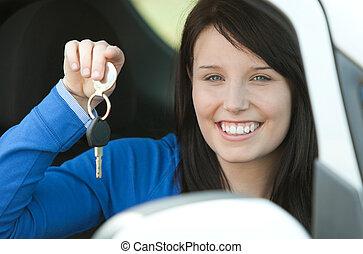 tízenéves kor, barna nő, neki, ülés, kulcsok, autó, birtok,...