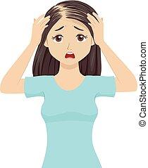 tízenéves kor, kár, alopecia, ábra, haj, leány, pánik
