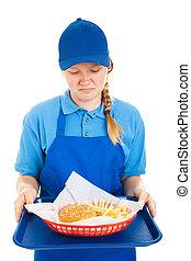 tízenéves kor, munkás, felháborodott, által, gyorsan elkészíthető étel