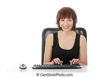 tízenéves kor, nő, használ, számítógép