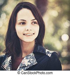 tízenéves kor, portré, külső, női