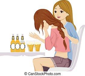 tízenéves kor, sír, lány, ábra, részeg probléma