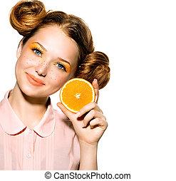 Tízenéves kor, szépség, lédús, leány, narancs, formál, Vidám