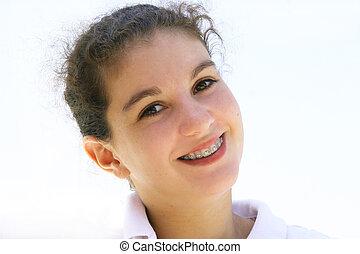 tízenéves lány, boldog
