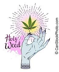 t�towierung, aufkleber, blatt, hintergrund., aus, marihuana, abbildung, freigestellt, cannabis, vektor, design, weibliche , druck, weißes, hand, oder