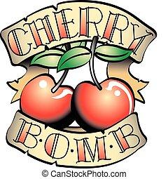 t�towierung, bombe, klammer, kirschen, design, kunst