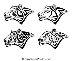 t�towierung, form, stammes-, leopard