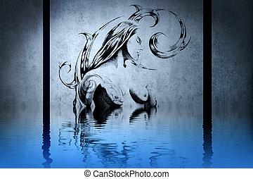 t�towierung, holz nymphe, auf, blaue wand, mit, wasser,...