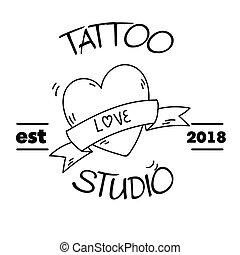 t�towierung, lieben herz, bild, vektor, studio, hintergrund, geschenkband