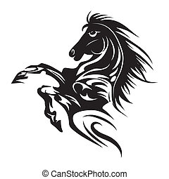 t�towierung, pferd, emblem, symbol, freigestellt, oder,...