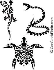 t�towierung, reptil, stammes-