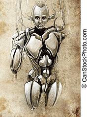 t�towierung, skizze, abbildung, fantasie, roboter, android, kunst