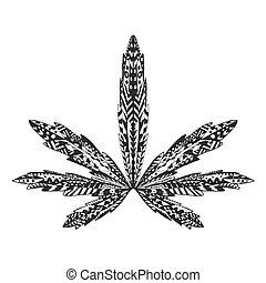 t�towierung, skizze, t-shirt., leaf., marihuana,...