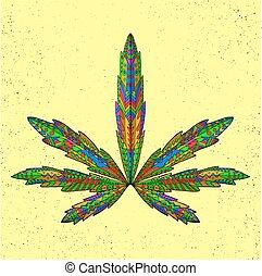 t�towierung, skizze, t-shirt., leaf., marihuana, stilisiert, zentangle, oder