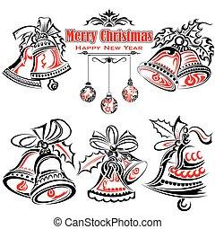 t�towierung, stil, glocken, weihnachten, jingle