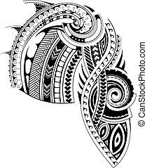 t�towierung, stil, maori, ärmel, schablone