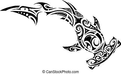 t�towierung, stil, maori, hämmern shark
