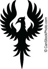 t�towierung, vogel, phoenix