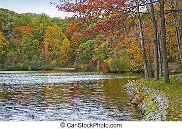 tó, ősz, zsákvászon