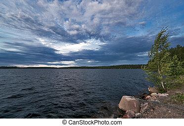tó, alatt, felhős, szeles, időjárás