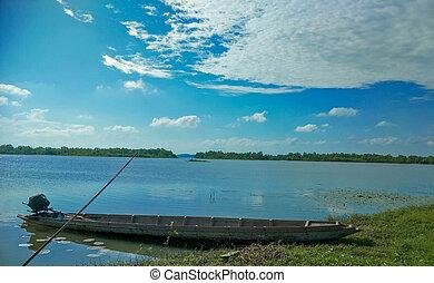 tó, csónakázik, halászat