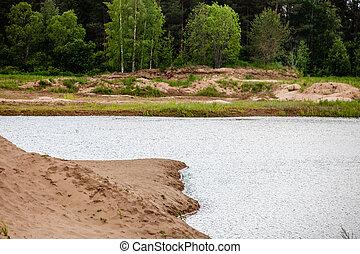 tó, gondolkodások, közül, bukás, foliage., színes, ősz foliage, elutasít, -e, visszaverődés, képben látható, a, csendes, víz
