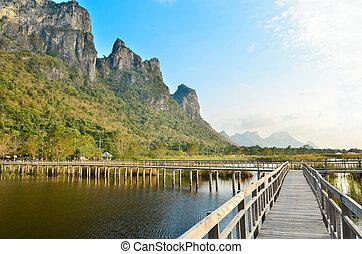 tó, hegy, sétány