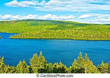 tó, közül, sacacomie, alatt, quebec, kanada