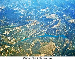 tó, lakkgumi, ellen-, castillon, -, felülnézet