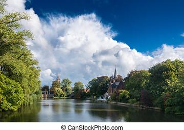 Belgium, táj, bruges, tó, minnewater. Bridzs, minnewater