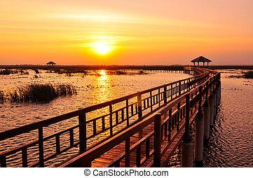 tó, sétány, napnyugta
