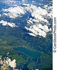 tó, sarnersee, svájc, -, felülnézet