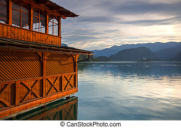 tó, vérző, noha, kilátás, közül, a, templom, képben látható, a, tó, slovenia