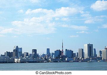 tóquio, baía, e, edifícios
