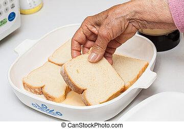 tószt, átázott, francia, előkészítés, elegyít, bread