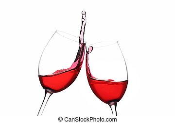 tószt, bor., cheers., piros, splash.