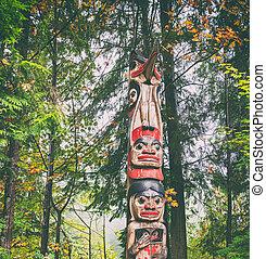 tótem, ketchikan, arte, juneau, destino, alaska, sculture, turista, poste, vancouver., viaje, skagway, fondo., escultura, bosque